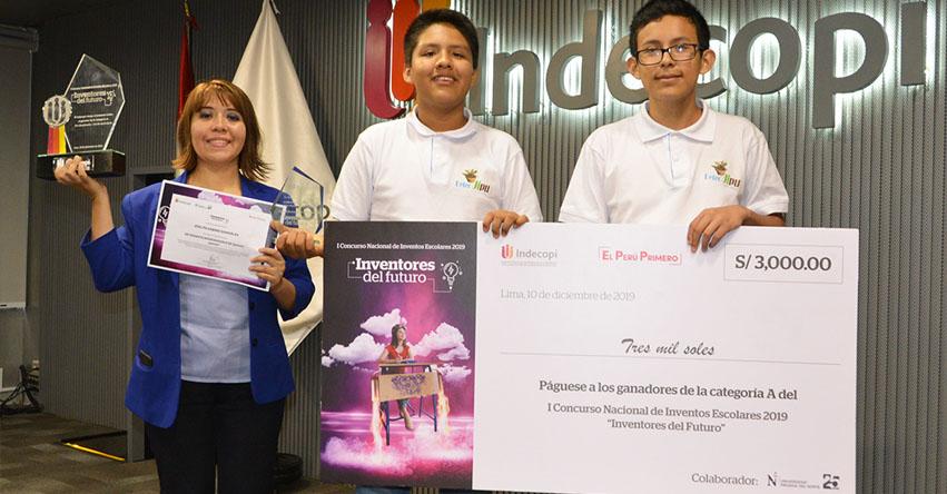 Colegio «San Vicente de la Barquera» de Huánuco, ganó Concurso Nacional de Inventos Escolares organizado por INDECOPI