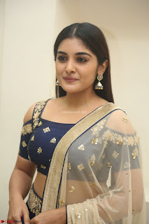 Niveda Thomas in Lovely Blue Cold Shoulder Ghagra Choli Transparent Chunni ~  Exclusive Celebrities Galleries 014