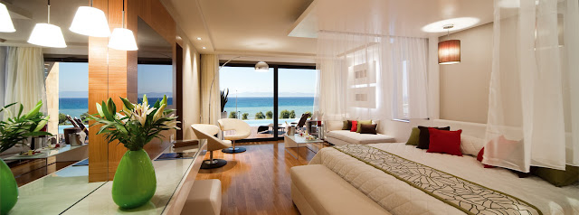 The 5 star Amathus Elite Suites sea view hotel in Rhodes, Greece, engulfed by the lush surroundings and the Aegean sea is an autonomous boutique hotel unit of Amathus Rhodes that exemplifies romantic beachfront living.