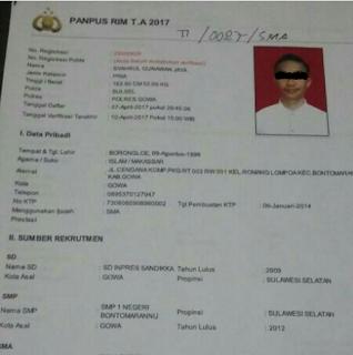 Niat ingin jadi Polisi, Seorang pemuda ditangkap polisi saat mendaftarkan diri sebagai Calon Bintara TI