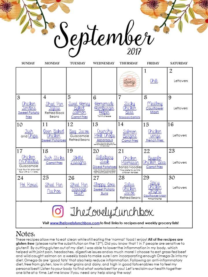 November Meal Calendar - The Lovely Lunchbox - meal calendar