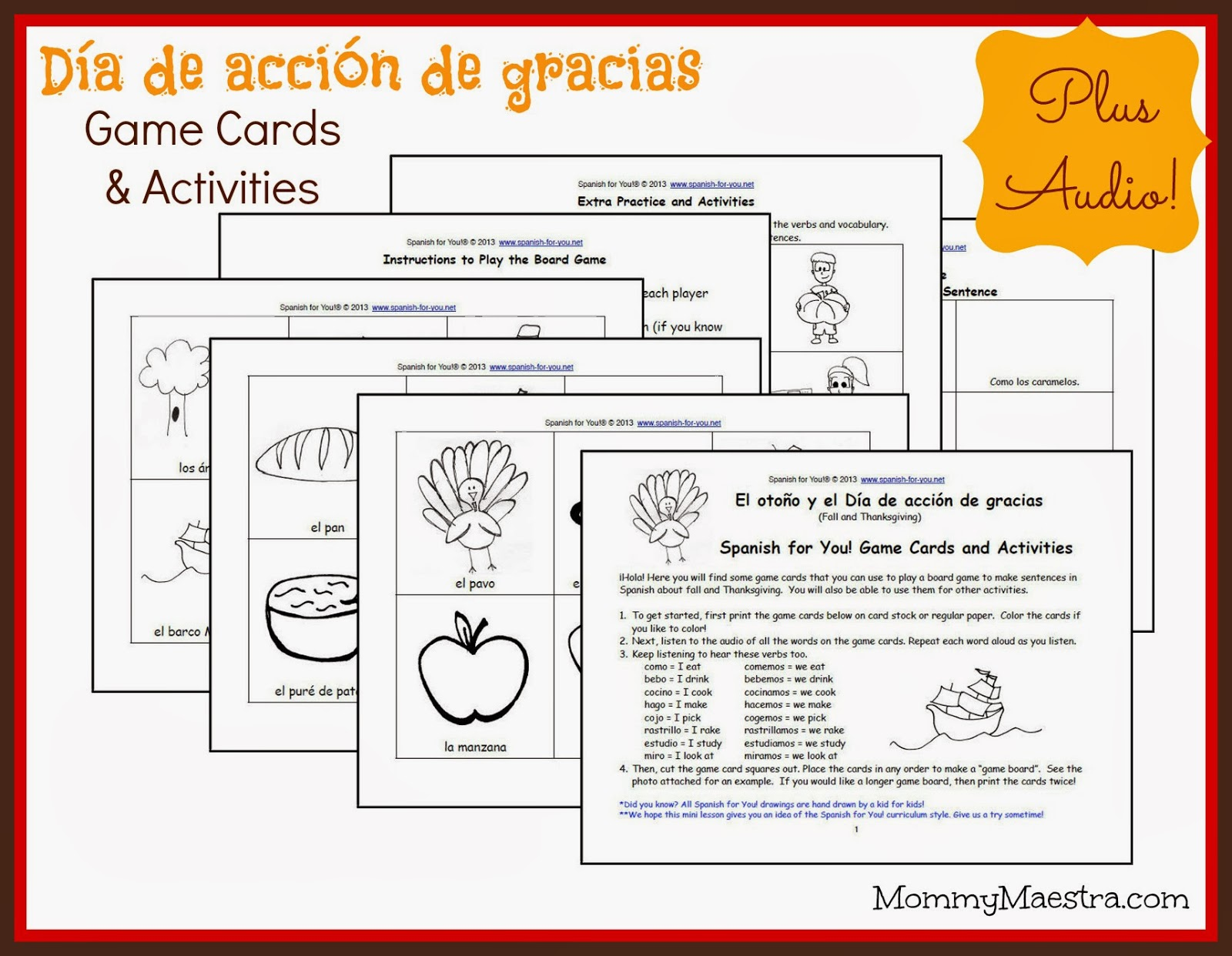 Mommy Maestra Dia De Accion De Gracias Printable Game