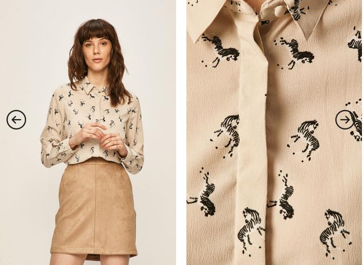 Camasa de fete cu maneci lungi de firma bej cu modele Vero Moda