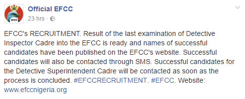 "Nepotism: Nigerians blast EFCC on Facebook over ""secret"" recruitment"