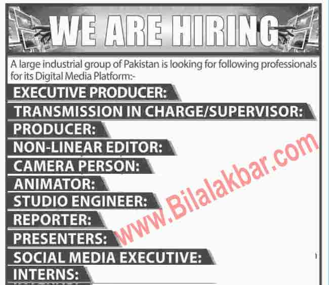 Jobs Opportunities Industrial  Group Digital Media Platform