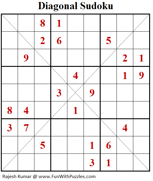 Diagonal Sudoku (Daily Sudoku League #182)-A