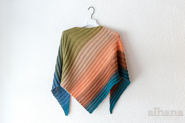 Autumnal striped paint shawl by Alhana