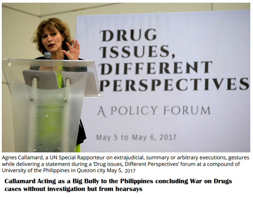 UN Rapporteur Agnes Callamard Acting as Big Bully in the Philippines