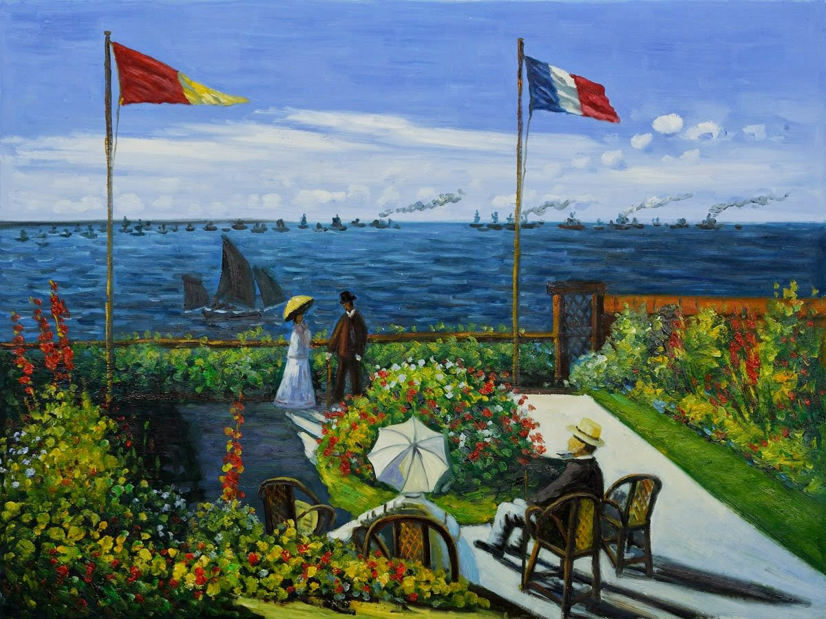 Terraço em São Adresse - Pinturas de Monet Claude | O Pai do Impressionismo