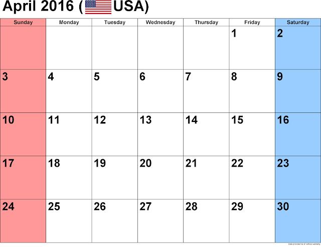 April 2016 Printable Calendar landscape, April 2016 Blank Calendar, April 2016 Planner Cute, April 2016 Calendar Download Free