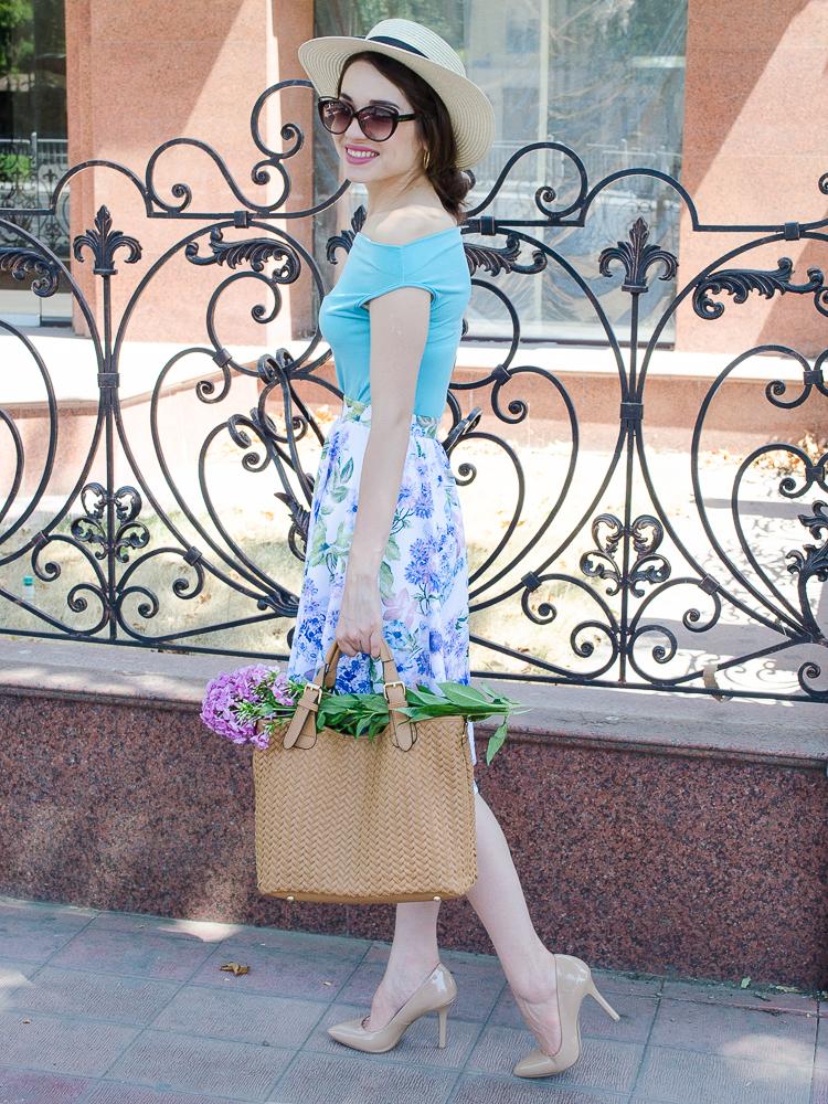 diyorasnotes floral midi skirt asos blue top 23 - LOOK OF THE DAY: FLORAL PRINT MIDI SKIRT