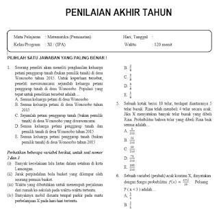 Soal PAT Matematika Peminatan Kelas 11 dan Jawabannya