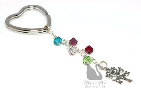 Mothers Heart Family Tree Birthstone Beaded Keychain (K110)