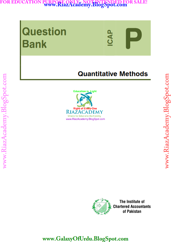 Quantitative Methods- QUESTION BANK