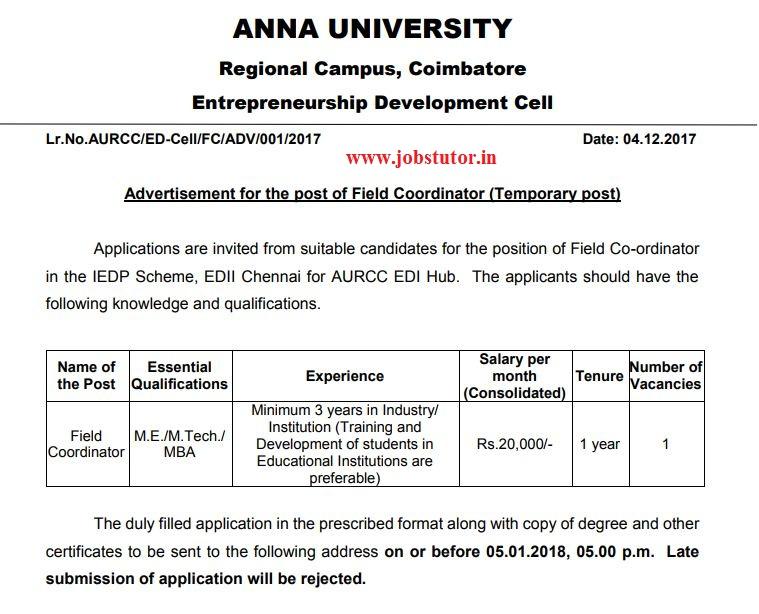 Anna University Recruitment of Field Coordinator Last Date: 05.01 ...