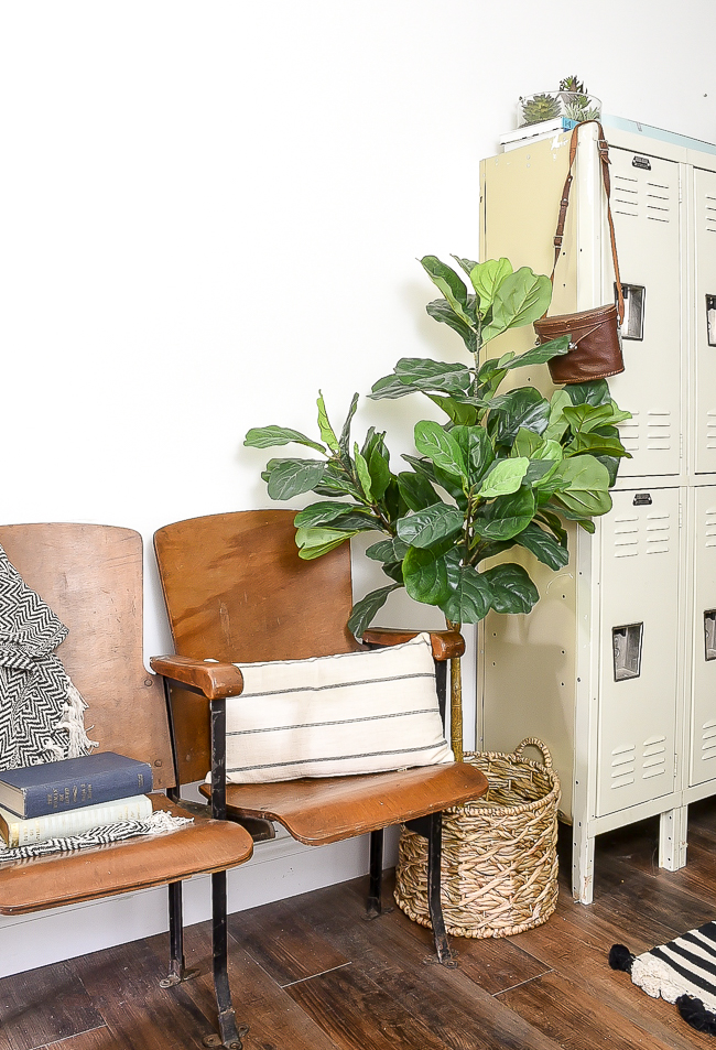 Locker and vintage theatre chairs in modern industrial farmhouse office
