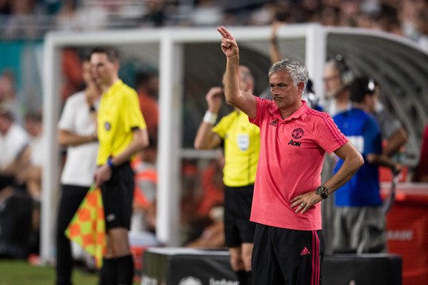 Manager Jose Mourinho of Manchester United gestures during the International Champions Cup match against Real Madrid at Hard Rock Stadium on July 31, 2018 in Miami, Florida.