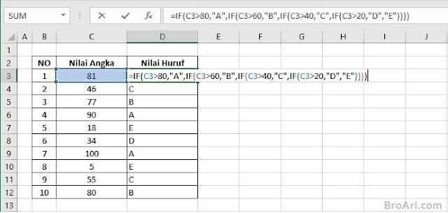 Cara Membuat Rumus IF Bertingkat Pada MS Excel