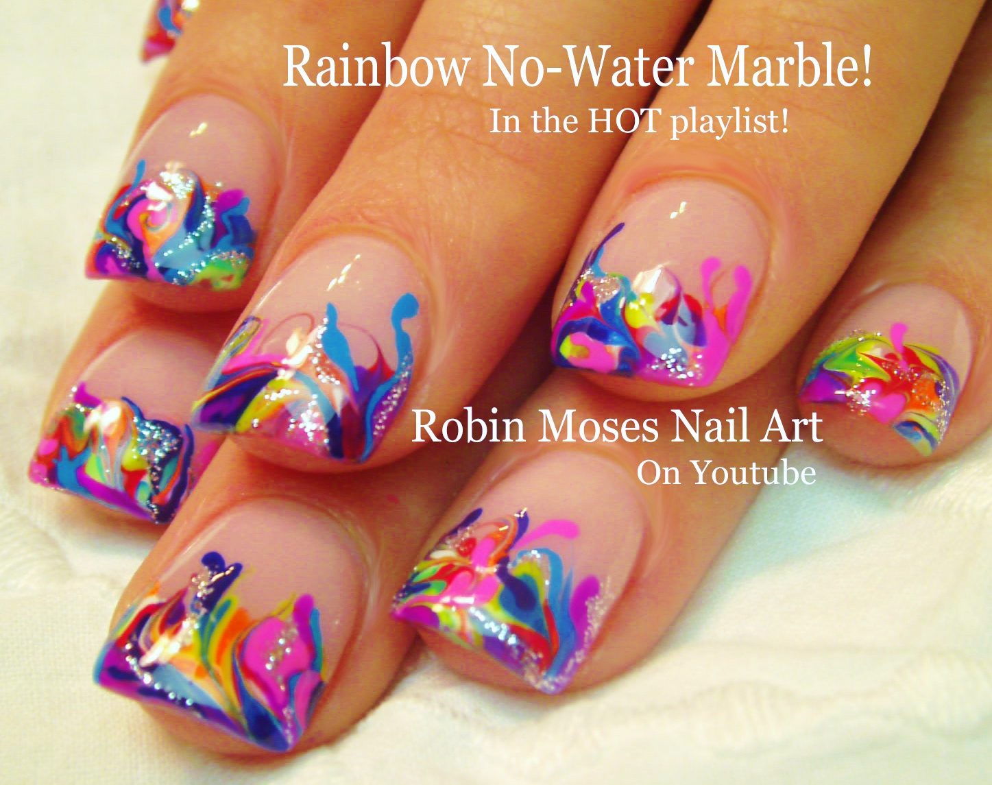 Nail Art by Robin Moses: Summer color fun! Neon Pink and