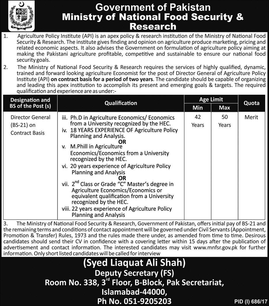 Jobs In Ministry Of National Food And Security Research Islamabad Aug 2017
