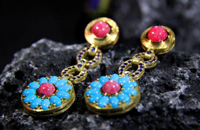 Pedientes turquesas oro