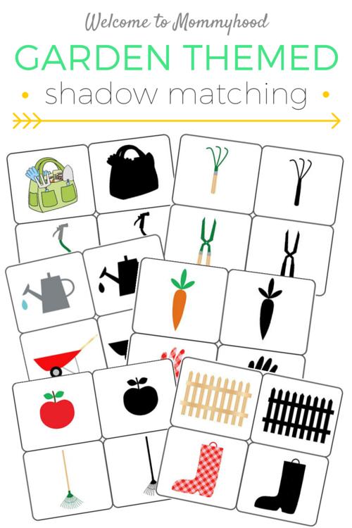 Spring activities for kids: free garden shadow matching printables #montessori, #preschoolactivities, #homeschool, #springactivitiesforkids