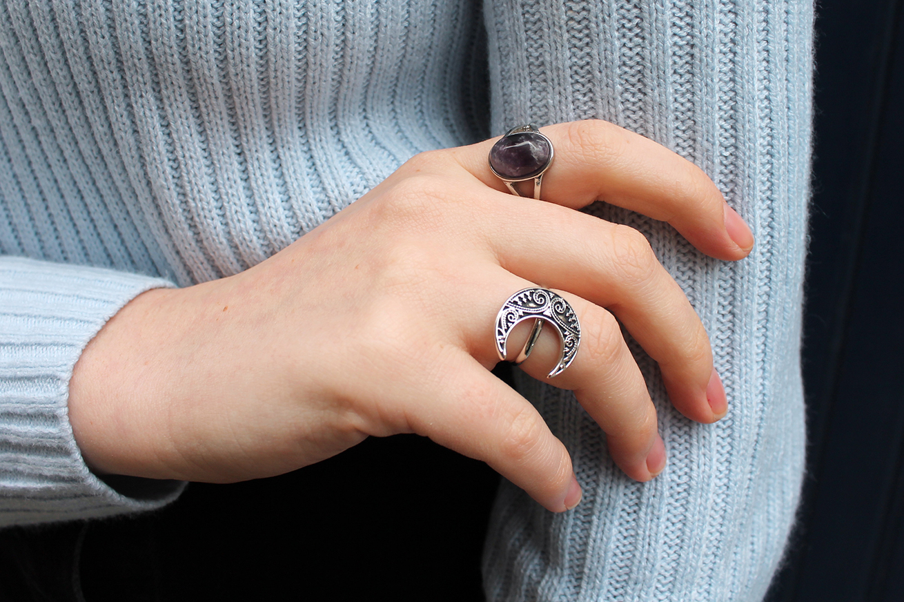 topshop silver purple stone ring, shop dixi silver decorated moon ring