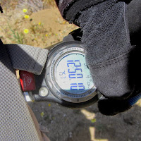 Checking the temperature on Panorama Loop Trail, Black Rock Canyon, Joshua Tree National Park