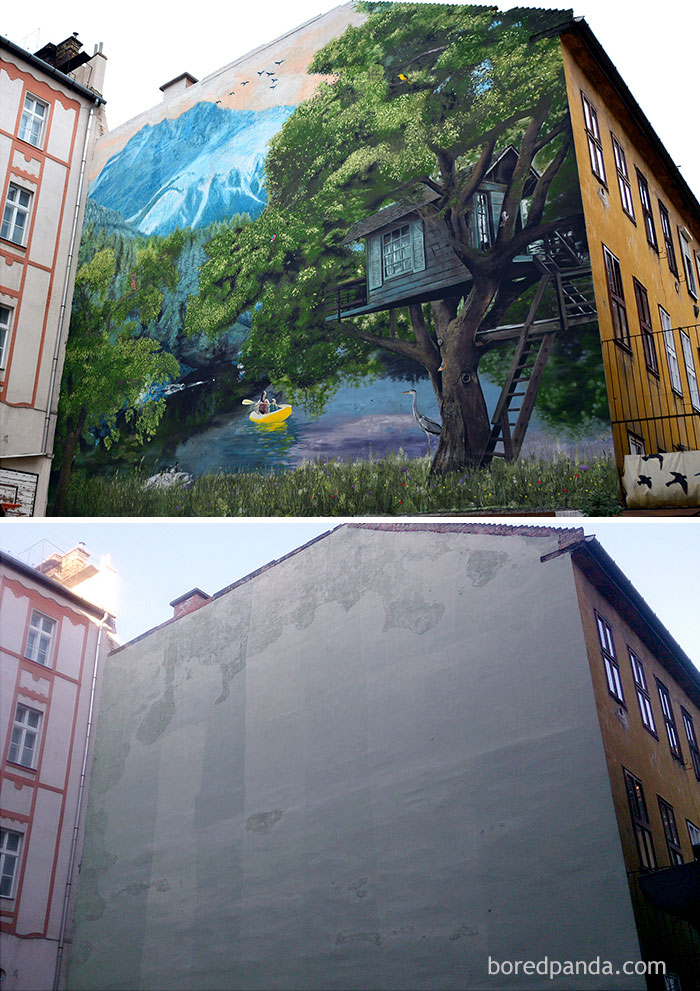 10+ Incredible Before & After Street Art Transformations That'll Make You Say Wow - Dob Suli, Budapest, Hungary