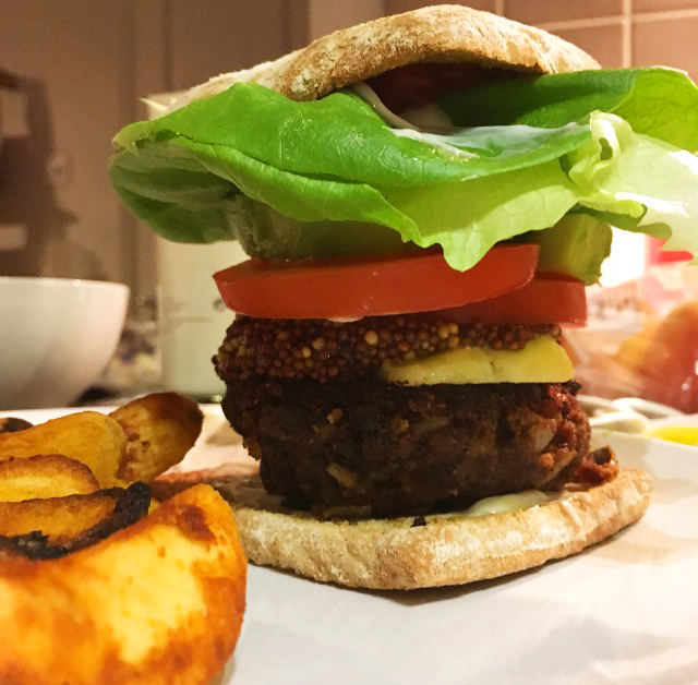 This is a black bean burger with sharp cheddar and Kozlik's mustard ...