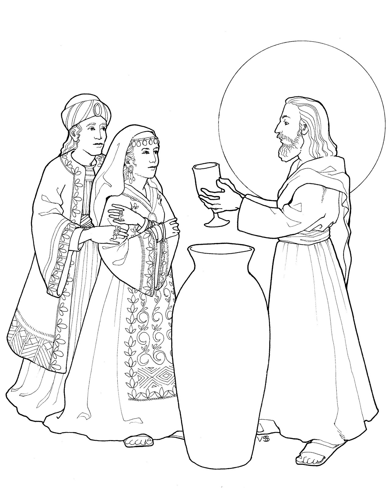 Make a joyful color line work for Wedding at cana coloring page