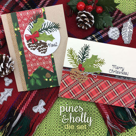 Pinecone Christmas Cards by Jennifer Jackson | Pines & Holly Die Set by Newton's Nook Designs #newtonsnook