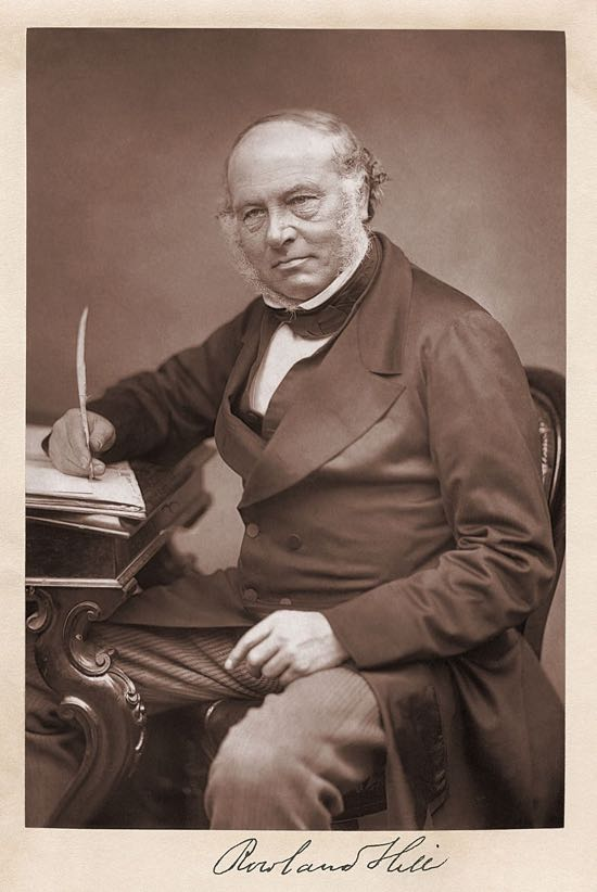 Photograph of Rowland Hill (postal reformer) taken before 1879 (date of Hill's death). Image from Wikimedia Commons