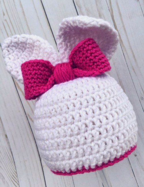 Bunny Hat With Ears - Free Crochet Pattern