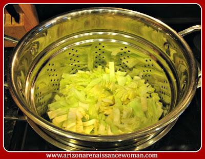 Cabbage in Steamer Basket for Bangers and Mash Tacos