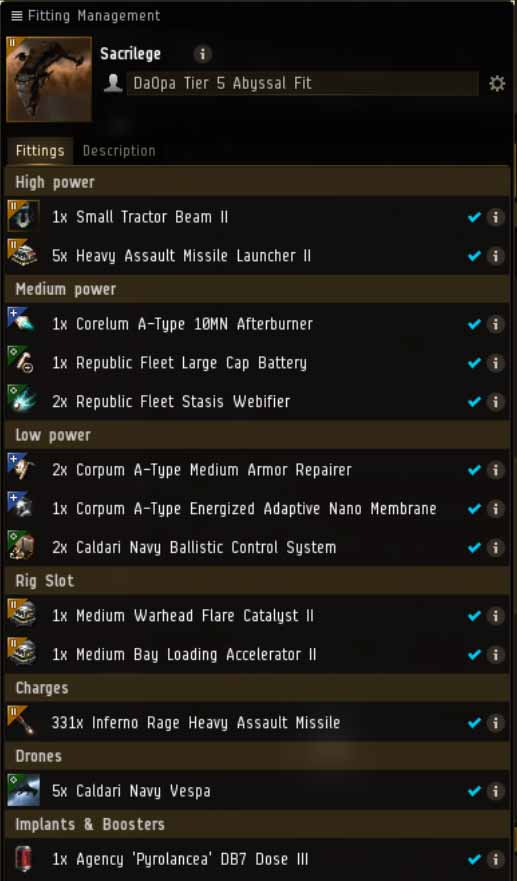 EVE Online Mission: Sacrilege Tier 5 Abyssal Deadspace Fit