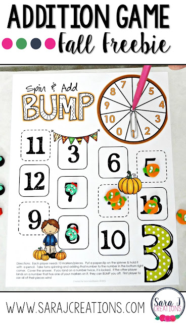 Enjoy this FREE hands on addition math game with a fun fall theme!