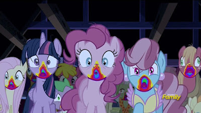The ponies pretend to be zombified