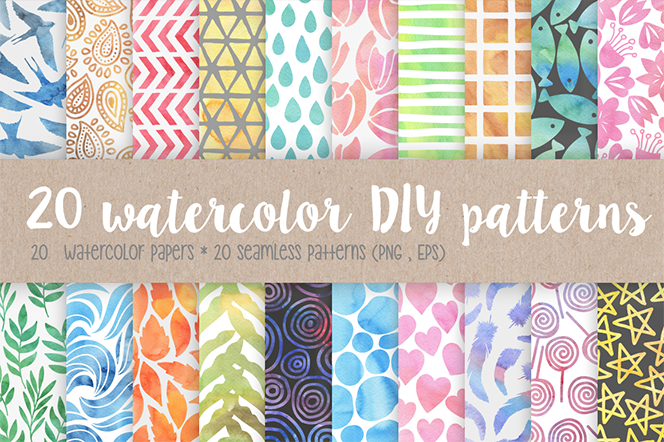20 watercolor DIY patterns - Kelly Reed