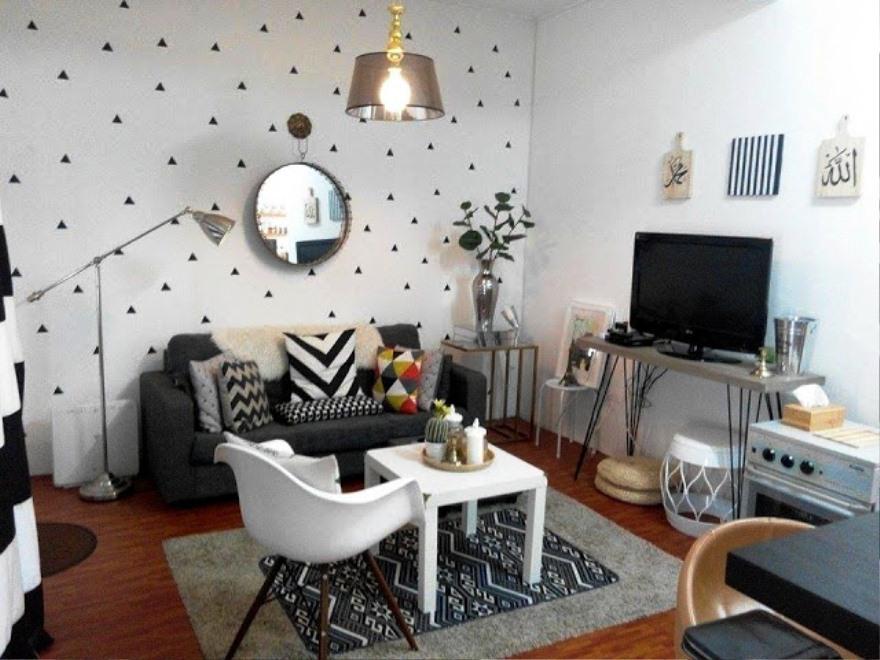 Motif Wallpaper Dinding Hitam Putih Untuk Ruang Tamu