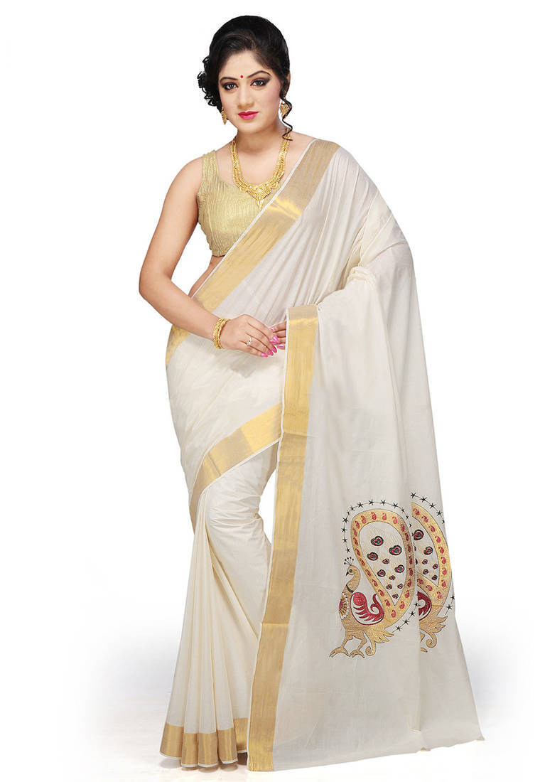 Saree Market Kerala Saree Cream Colour