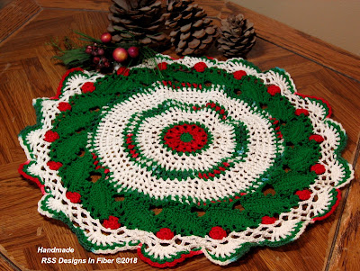 Holly Doily with Green Holly Leaves and Bright Red Holly Berries - Handmade By Ruth Sandra Sperling at RSS Designs In Fiber