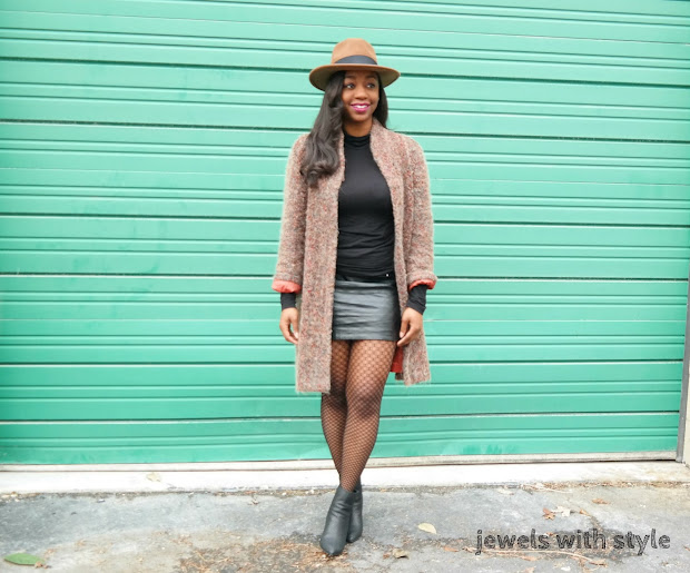 black leather mini skirt, how to wear a leather skirt, how to wear fishnets, fishnets 2017, how to wear black and brown, black and brown outfit ideas, how to wear a fedora, brown fedora hat, fishnet outfit ideas, jewels with style, columbus ohio stylist, columbus wardrobe stylist, black fashion bloggers, black style bloggers, columbus bloggers, ohio bloggers, how to wear booties