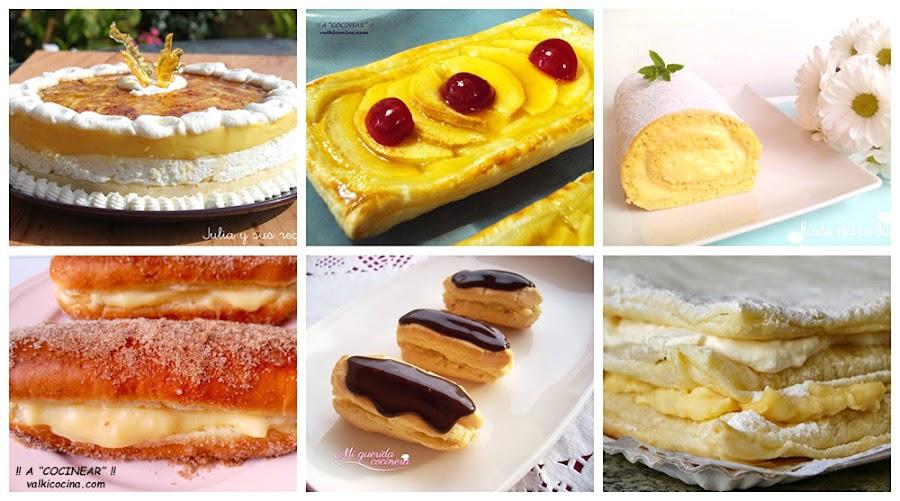 6 dulces con crema pastelera