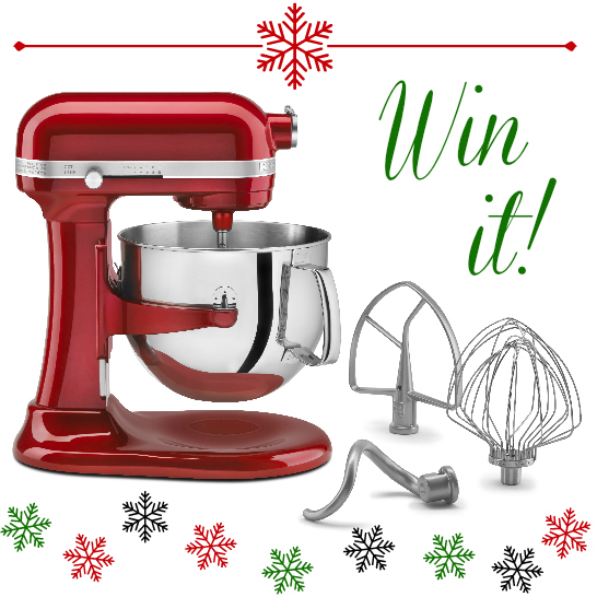 red kitchen aid stand mixer with attachments