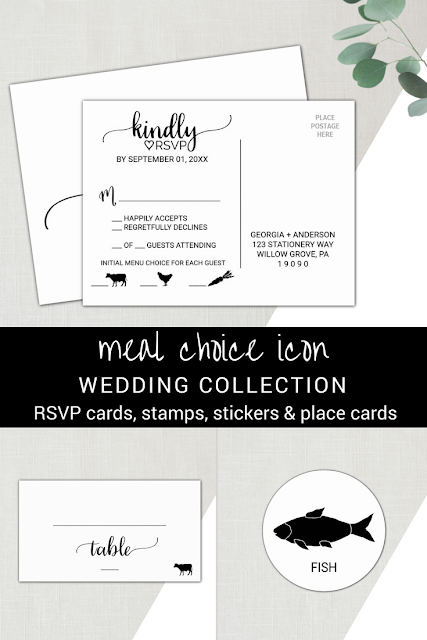 rsvp card for a wedding with cow chicken and carrot meal choice icons, chicken menu selection place cards, fish entree selection sticker