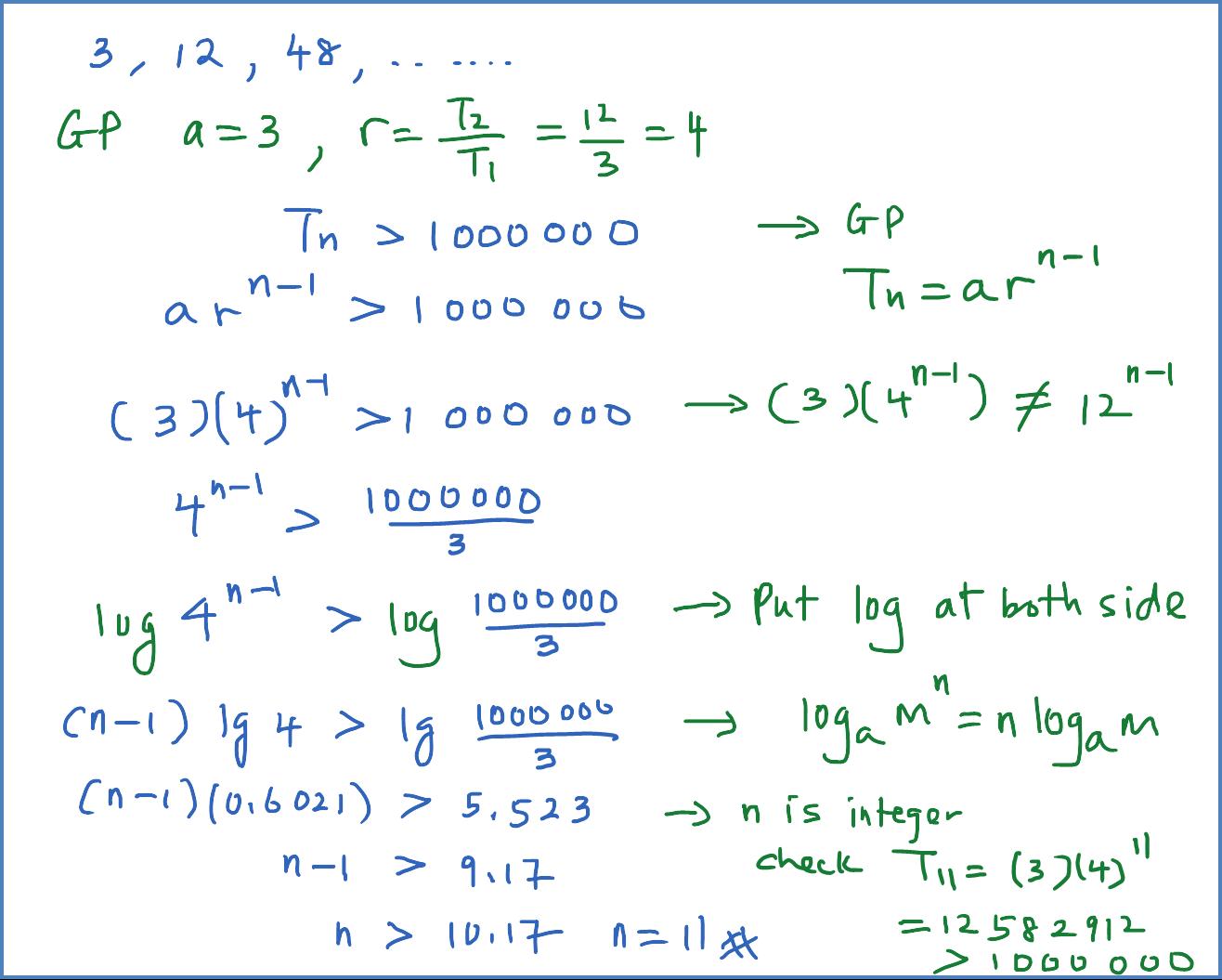 Geometric Sequence Equation Nth Term