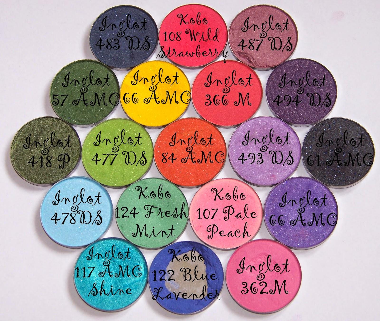 Kolorowe, okrągłe wkłady do paletek Inglot i Kobo