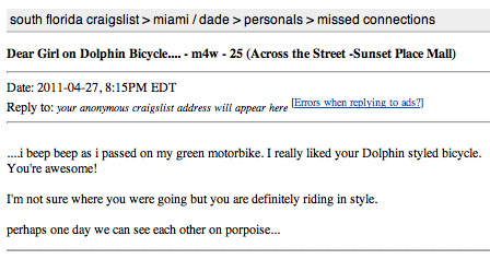 Missed-Connection Connection | The Miami Bike Scene