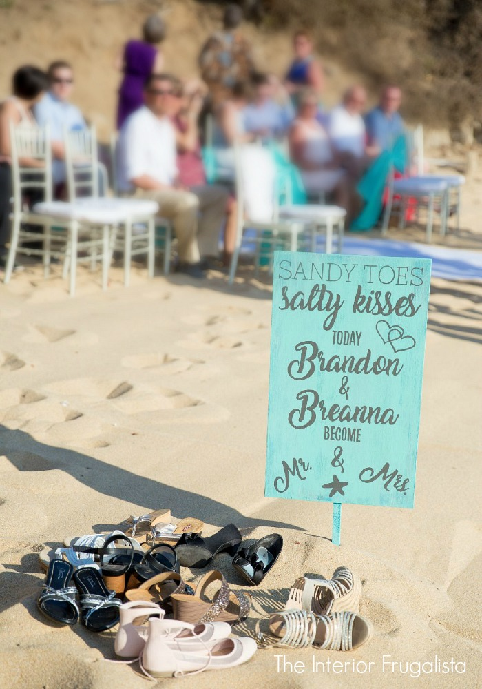 DIY Beach Wedding Sign at ceremony